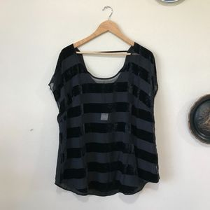 New Lane Bryant Sheer Velvet Striped Black Top
